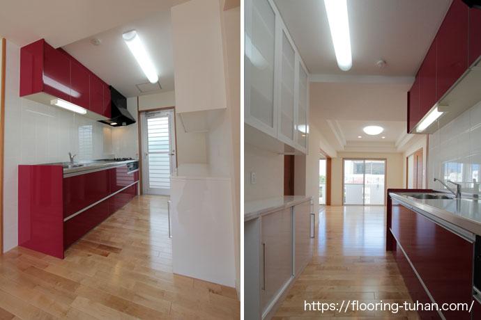 リビングダイニングに清潔感あふれるカバ桜の白フローリングを採用した3世帯住宅