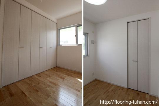 白を基調とした部屋の床材として、清潔感あふれるカバ桜フローリングを採用