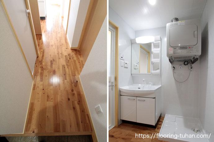 アパートの3LDKのお部屋に木目と節が印象的なバーチブラウンフローリングを使用
