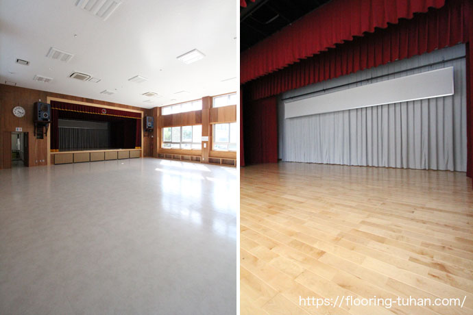 白色で統一された公民館、舞台は無垢のカバ桜フローリングで仕上げました