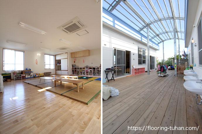 カバ桜無垢フローリングを教育機関(保育園)の床材として使用
