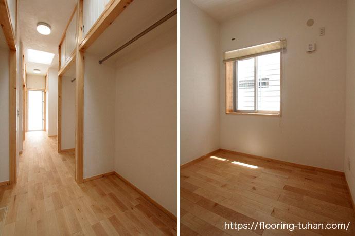 白系統で統一されたウォークインクローゼット、カバ桜フローリング自然塗装仕上げ(オスモ仕上げ)を床材として採用した戸建て住宅
