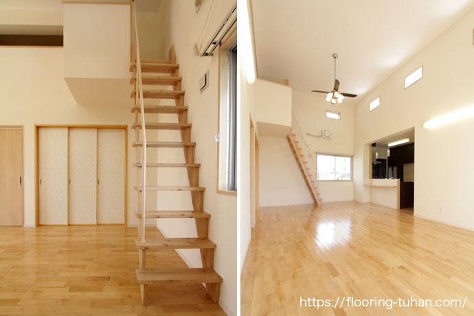 広々リビングとロフトにつながる階段