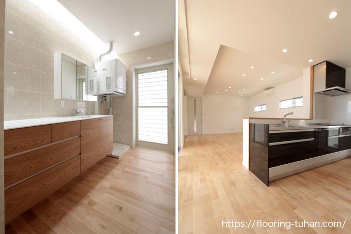 明るく広い洗面台とキッチン