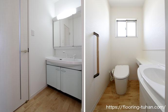 脱衣所やトイレにも白で清潔感のある白フローリング、カバ桜を使用(白フローリング/白床/カバ桜材/バーチ材/フローリングサンプル)