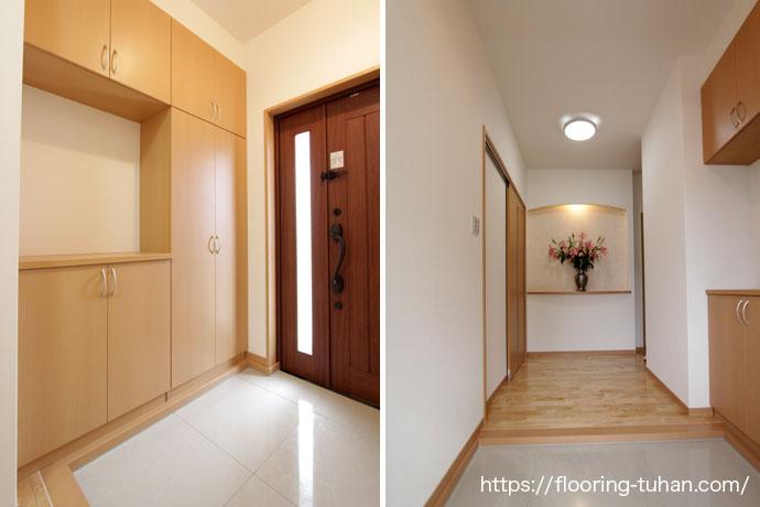 出入り口を白フローリングで統一する事で清潔感あふれる玄関に