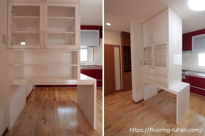 白を基調とし、全体を清潔感あふれる空間に仕上げたダイニング(カバ桜/バーチ材/フローリング/床材)
