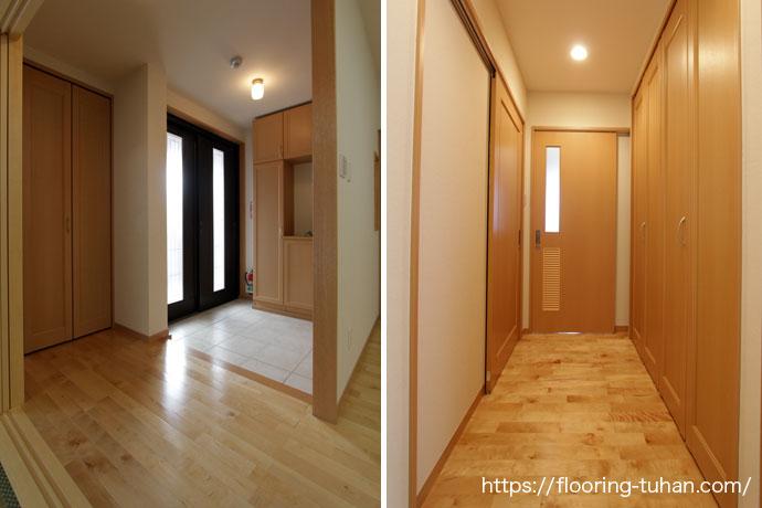 白系統フローリングを玄関に使用する事で広々とした空間に見せる事ができる