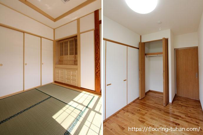 バーチブラウン(着色されたカバ桜)を部屋のフローリングとして使用した戸建て住宅