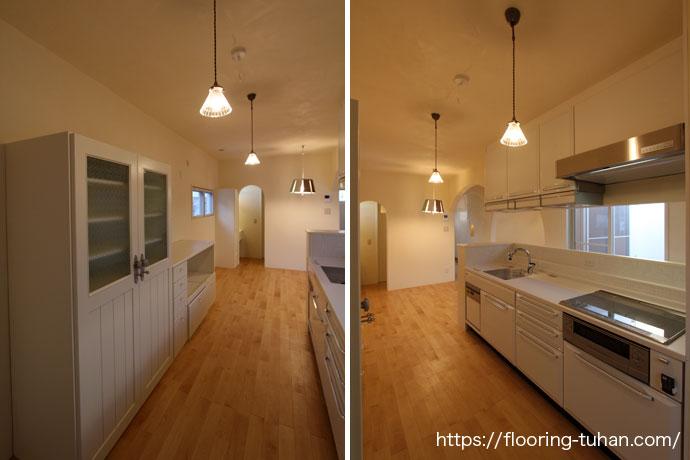 白床が特徴的なキッチン(カバ桜/カバ/カバサクラ)