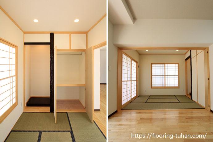 白系統(カバ桜)フローリングは、洋室和室とでもマッチする多用な無垢フローリング材