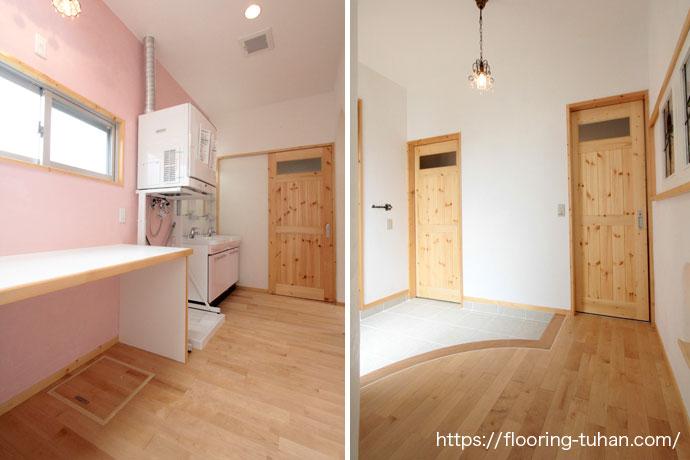明るく清潔感ある空間にするために、白系統のカバ桜無垢フローリング自然塗装仕上げを床材に使用