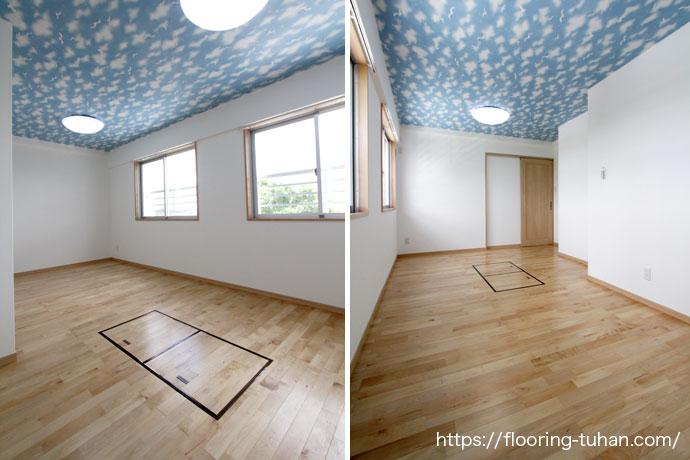 青空とカバ桜の白が優しい雰囲気の子ども部屋(カバ桜無垢床材)