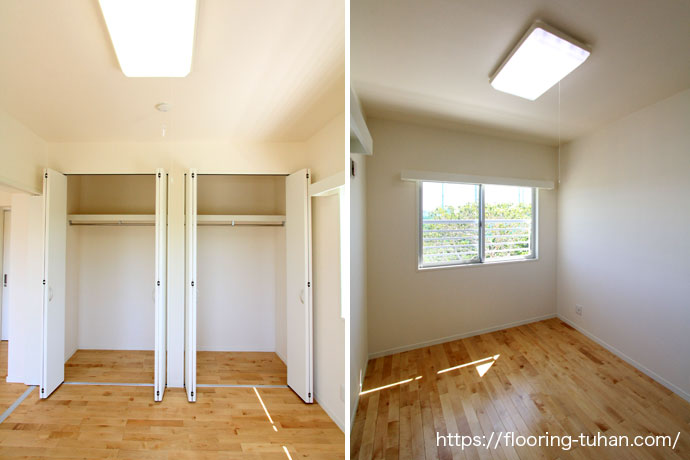 部屋とクローゼットにカバ桜無垢フローリングを使用(カバサクラ/サクラ/無垢床材)