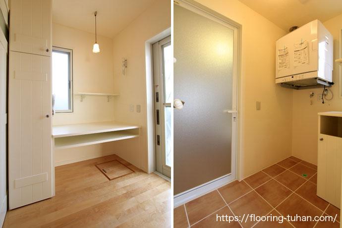 カバ桜無垢フローリングを自宅床に使用したパビスタンプ(珪藻土)の家(フローリングサンプル/カバ桜床/白床/白系統フローリング)