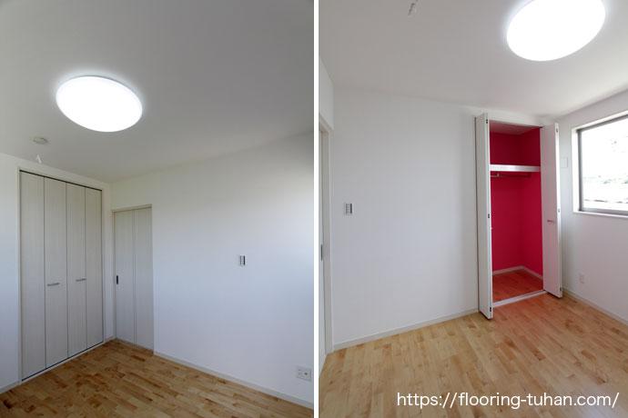 各部屋にもカバ桜フローリングを使用して全体を明るく仕上げたお家(カバ桜フローリング/白系統フローリング/白床/白フローリング/フローリングサンプル)