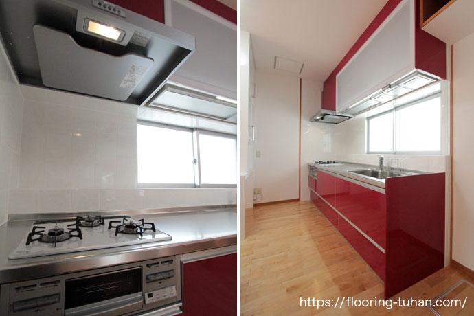 白を基調とし、全体を清潔感あふれる空間に仕上げたキッチン(カバ桜/バーチ材/フローリング/床材)