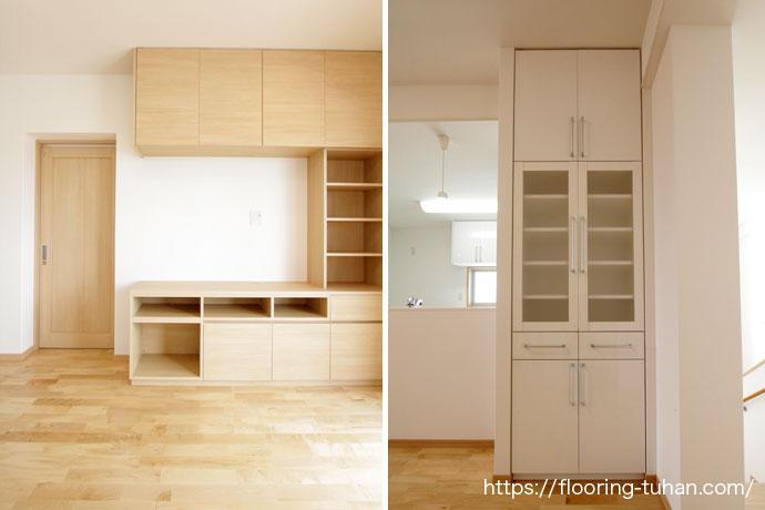 お部屋の雰囲気に合わせた家具の色(カバ桜無垢フローリング)
