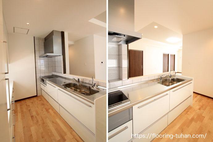 白系統で統一されたキッチンルーム、清潔感あふれる配色で人気です