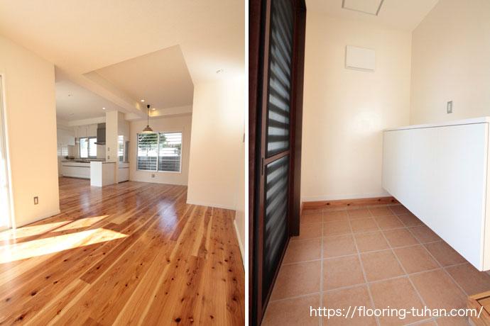その柔らかさから踏み心地がよく人気が高い杉材をリビングダイニングに使用した戸建住宅(杉材/杉/無垢材/無垢床材)