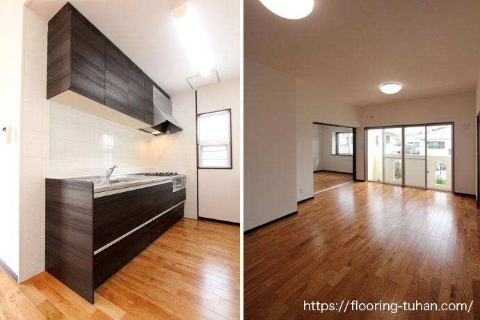 キッチン周りの床材として、チェリー材(無垢フローリング)を採用