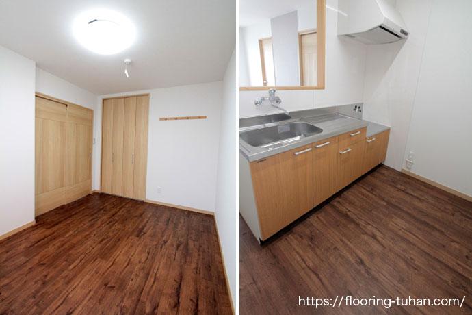 耐水性もあるPVCフローリングをキッチン周りに使用したアパートの床