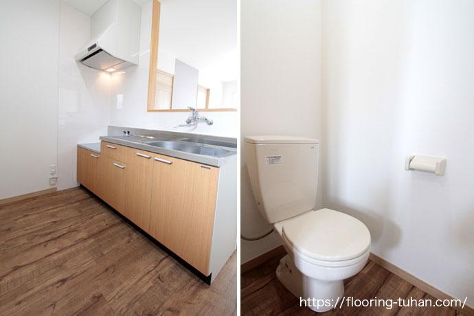 耐水性にも優れているPVCフローリング(デコクリック)をアパート物件の床材として使用(クラシックヒッコリー)