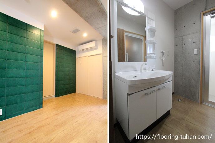 耐久性・耐水性に優れたPVCフローリングをキッチン周りの床材として使用したアパート物件
