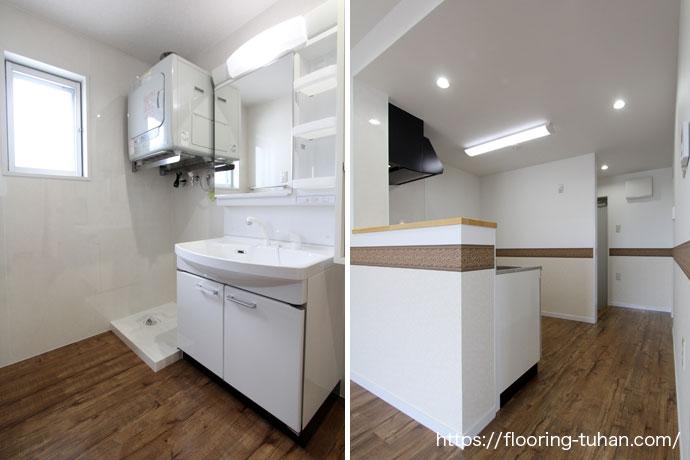 PVCフローリング(デコクリック)を脱衣所の床材として採用いただいたアパート物件