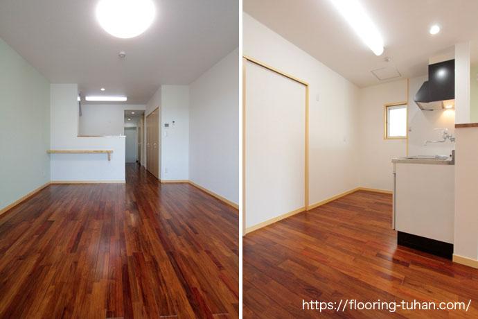 リングア無垢フローリングを3LDKのアパートの床材として採用(沖縄県・沖縄市