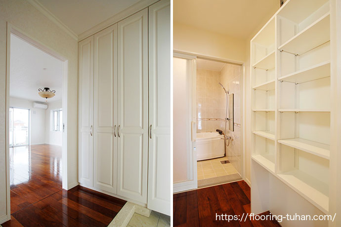 玄関から見える広々リビングと清潔感あふれる脱衣所もリングア材で統一(リングア無垢材)