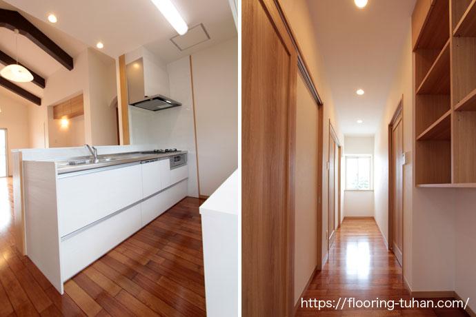 キッチンの床材に耐水耐久性のあるメルバオ材を採用