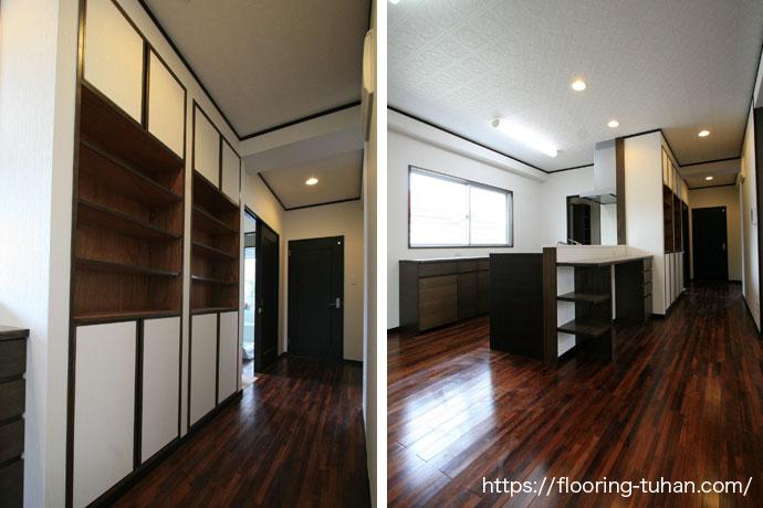 メルバオ無垢フローリングをリビングダイニングの床に使用した戸建て住宅