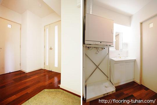 床の汚れが目立たないダーク系の床(床材 メルバオ)