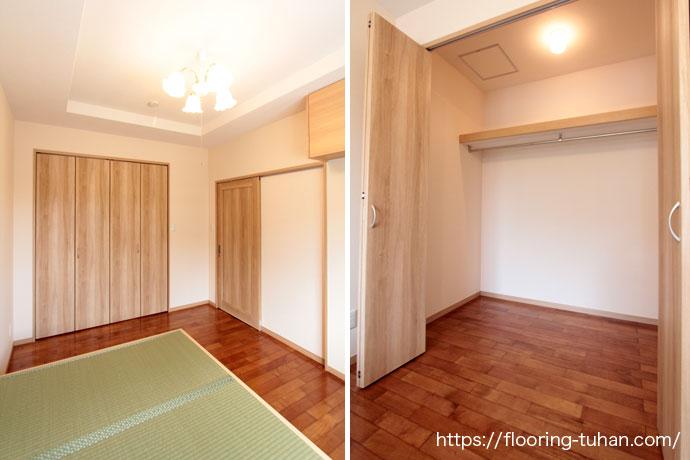 畳との相性もバッチリなメルバオ材を、各部屋とクローゼットの床材として使用