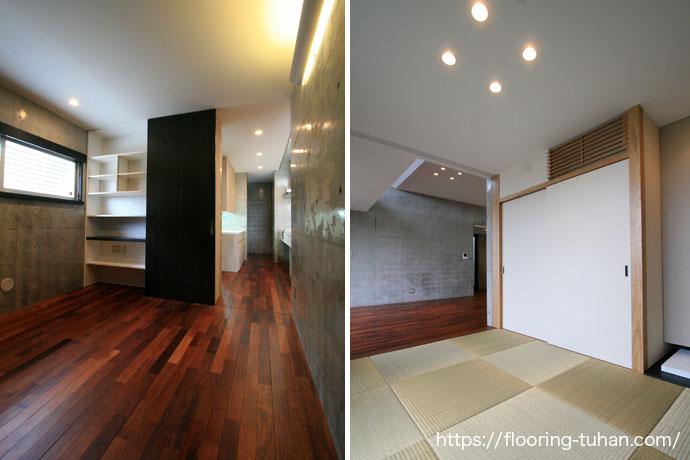 廊下にメルバオフローリングを使用し、高級感あふれる廊下に完成