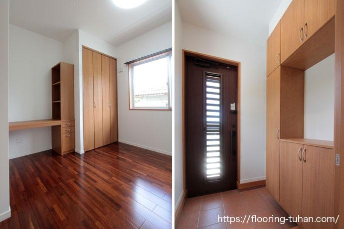 玄関や各部屋に、こげ茶色が魅力的なメルバオフローリングを採用