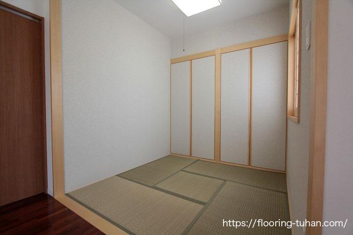 畳間(和室)にもマッチするメルバオ材を、戸建て住宅の床材として採用