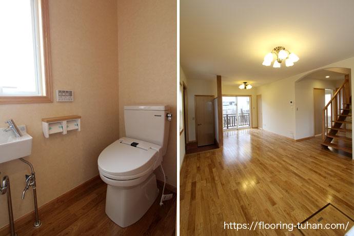 ナラ材を床に使用したトイレとリビングダイニング
