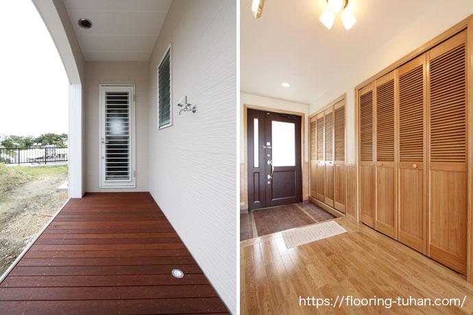 床はオーク材、ベランダにはウッドデッキ材を使用したお宅