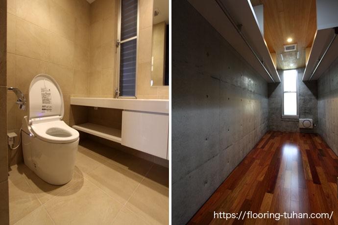 ウォークインクローゼットの床には高級材の花梨(カリン)を使用(カリン無垢フローリング)