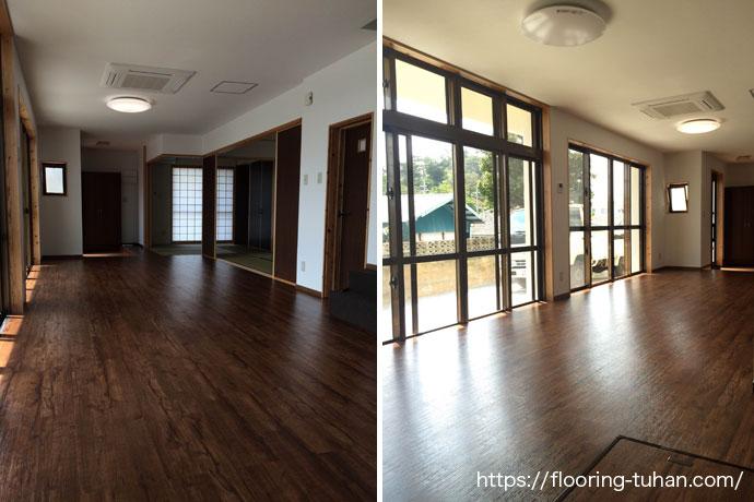 床のリフォームで、置くタイプのフローリング(デコクリックフローリング/PVC)を床材として使用して頂いた戸建住宅