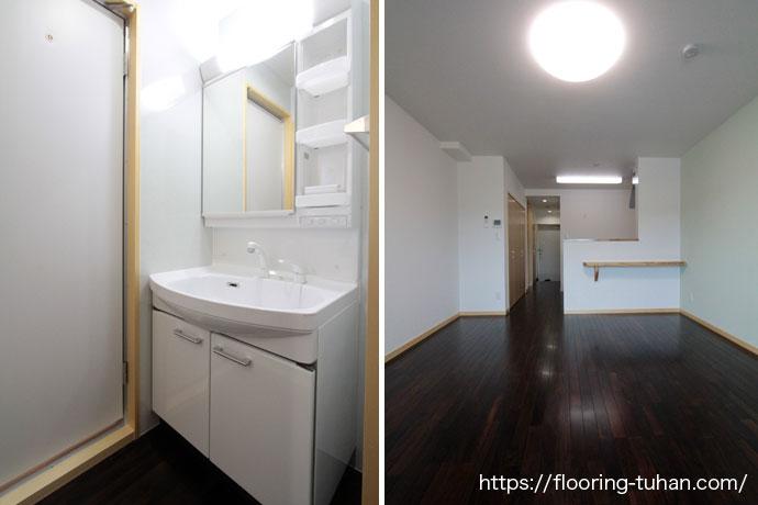 ワンルームタイプのお部屋に黒系統のローズウッド(紫檀)無垢フローリングを使用したアパート