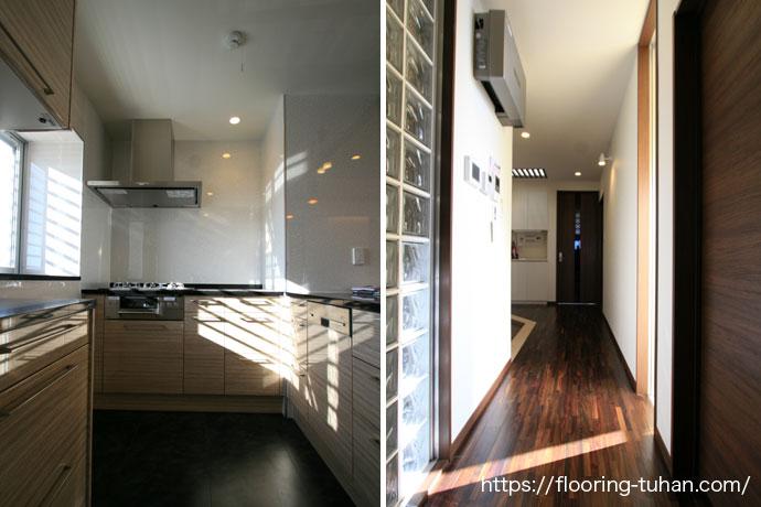 ローズウッド(紫檀)フローリングをキッチン周りや廊下に使用した戸建て住宅