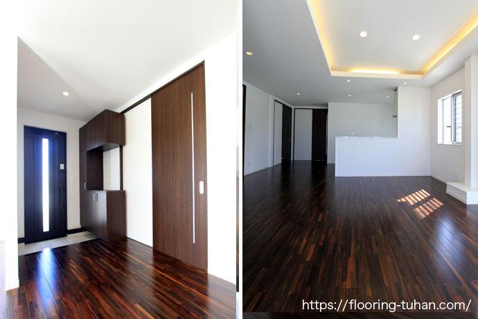 白黒で統一された玄関、高級感があふれるリビングダイニング