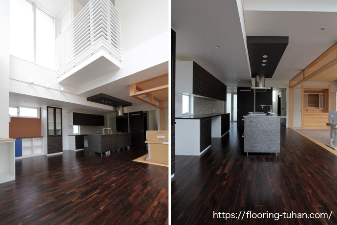 黒とシルバーで統一されたキッチンと、高級感があふれるリビングダイニング
