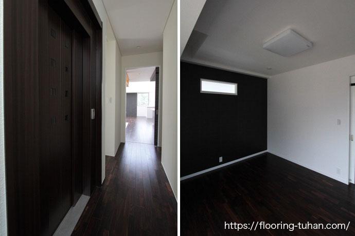 無垢材のローズウッドを使用した廊下(通路)、黒系統で統一されたお部屋