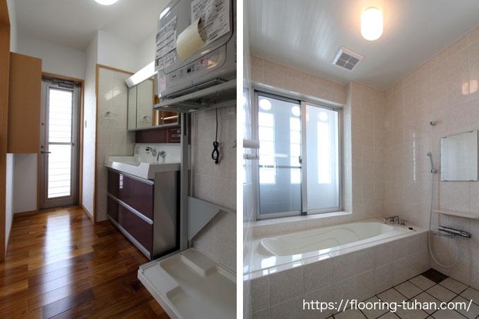 脱衣所/バスルームにチーク材を使用したアパート