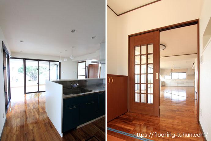 耐水性に優れたチークフローリングをキッチンと玄関に使用(チーク材/チークフローリング/無垢床サンプル/チークサンプル)