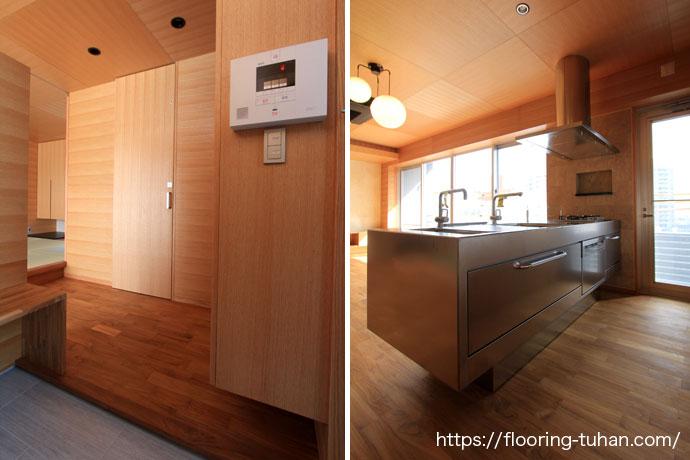 同一色で統一された玄関・キッチン(チークフローリング/チーク材)